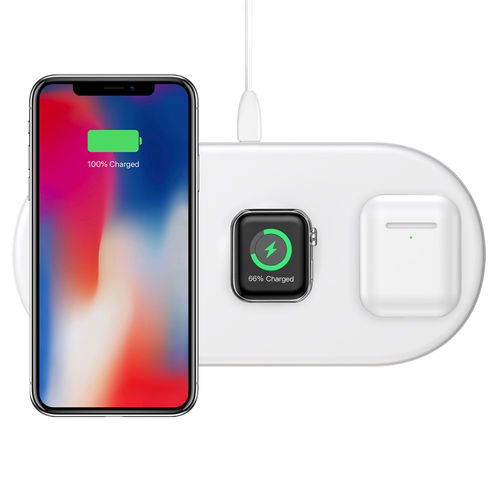 Baseus 3-in-1 Wireless Charger Pad for Apple Watch / iPhone / AirPods - White